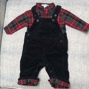 Janie and Jack black cuorderoy overalls w shirt